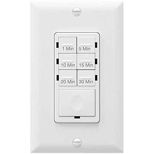 Enerlites HET06A-White 1-5-10-15-20-30 Minutes Preset In-Wall Countdown Timer Switch, w Decorator Wall Plate, White (Renewed)