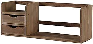 BINGFENG Legno massello Piccolo scaffale Piccolo scaffale sul Tavolo Camera da Letto Student Top Shelf Semplice Ufficio di stoccaggio Piccolo scaffale monostrato Colore del caffè