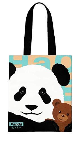 Panda Canvas Tote Bag for Women, Reusable Bag with Zipper, Shopping Bag, Beach Bag, Travel Bag, Printed Cotton Cute Bag