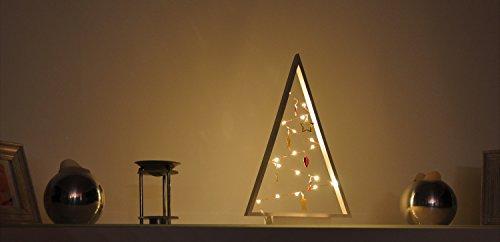 Unbekannt Dekobaum weiß, beleuchtet, Lichterkette mit 15 Lichter, Holz