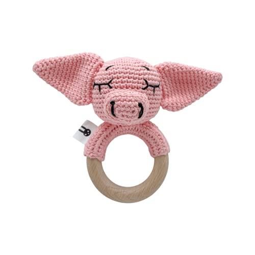 Ugo the pig - Sonajero mordedor hecho a mano para bebé a partir de 0 meses. Juguete dentición Montessori. Crochet/Amigurumi.
