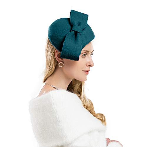 F FADVES Wool Felt Fascinator Winter Women Pillbox Hat Bowknot Kentucky Derby Fedoras Blue