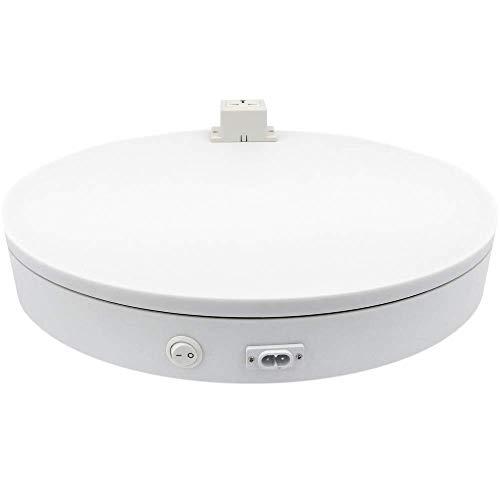 PrimeMatik - Base giratoria eléctrica de 50 cm. Plataforma rotatoria de color blanco con enchufe