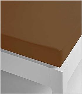 Miracle Home Sábana Bajera Ajustable Elástica Suave y Cómoda Algodón 50% Poliéster Chocolate 135 x 200 cm