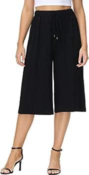 HOW ON Women s Elastic Waist Wide Leg Casual Palazzo Capri Culottes Pants Soft Knit Cropped Pants Black XXL