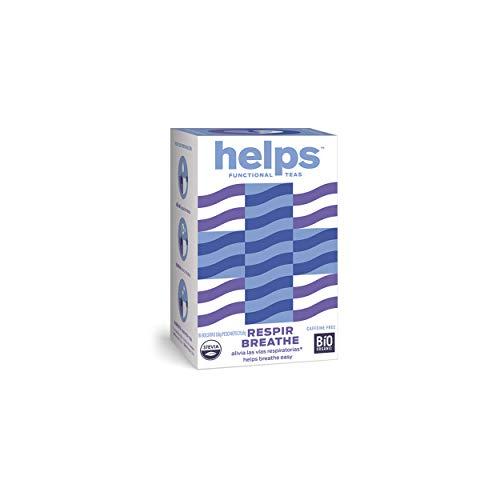 HELPS INFUSIONES - Infusión A Base De Eucalipto, Tomillo, Tila, Menta Y Stevia. Infusión Expecorante. Respiración, Tos Y Catarros. Helps Breathe. Caja De 16 Bolsitas.