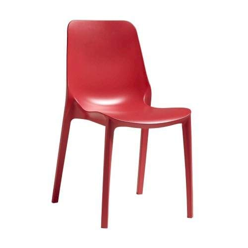 Scab Design Stuhl Modell Genf aus Technopolymer, Set 6 Stück, erhältlich in 8 Farben – für Innen- und Außenbereich (Rot Gerano)