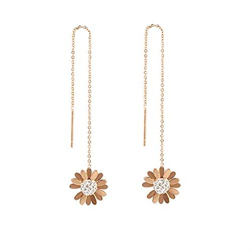 Cadena de Borla Little Daisy Crystal Drop Pendiente para Las Mujeres Color de Oro Rosa Color de Acero Inoxidable Oreja joyería Regalo Femenino (Metal Color : ES008)