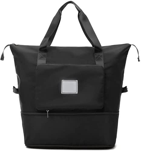 Bolsa de viaje plegable de gran capacidad, ligera, impermeable, plegable, para llevar equipaje, bolso bandolera con bolsillo húmedo (negro)