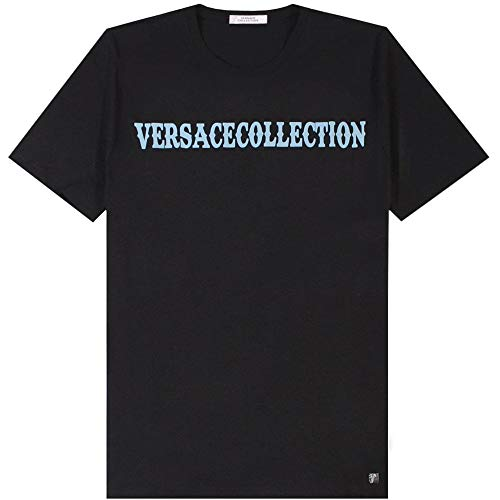 Versace Collection T-Shirt con Stampa con Logo Collection Black Extra Extra Large