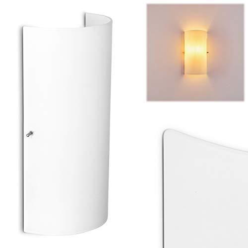 Wandlampe Modica aus Metall/Glas in Weiß, moderne Wandleuchte mit Up & Down-Effekt, 1 x E14 max. 40 Watt, Innenwandleuchte mit Lichteffekt, geeignet für LED Leuchtmittel