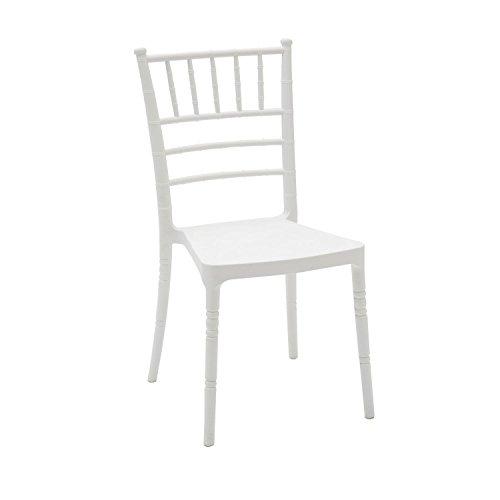 ARREDinITALY - Sedia Stile Chiavarina in Polipropilene di Colore Bianco - Dimensioni L.42 P.43 H.90 cm. Seduta H.45 cm.