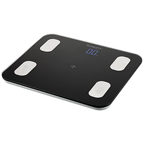 SCARLETT SC-BS33ED46 - Báscula digital de análisis corporal con Bluetooth, hasta 150 kg, hasta 8 usuarios, cristal templado, color negro y plateado