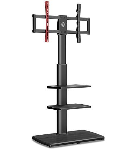 FITUEYES Soporte de suelo para TV con base de madera para pantalla de 32' a 65', 3 estantes, altura ajustable, capacidad para 40 kg, VESA 600 x 400 mm, gestión de cables FT-E3651WB
