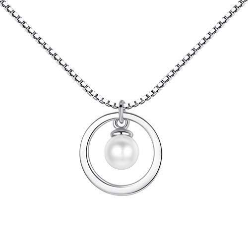 Happyyami 1 Unid Simple Collar de Perlas Moda Plata Clavícula Cadena Mujeres Cuello Joyería