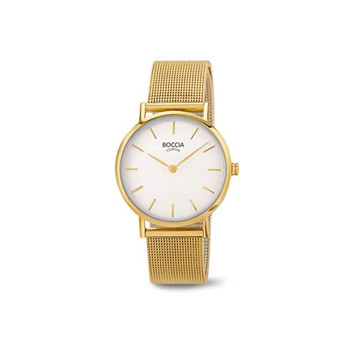 Boccia Damen Analog Quarz Uhr mit Edelstahl Armband 3281-06