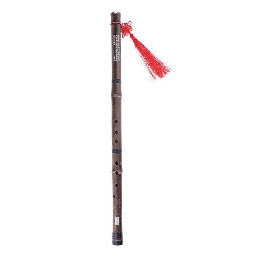 Shiwaki Traditionelle 8 Loch Bambusflöte Holz Flöte Schulflöte mit chinesischer Knoten und Samtbeutel als Geschenk - F-Taste rechte Hand