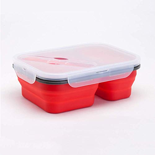 Double Grid Silikon Folding Lunch Box Heizung Box Mikrowelle Lunch Box Sealed Lunch Box,Blue