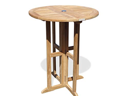 "Windsor's Premium Grade A Teak Bimini 32"" Round Dropleaf Counter Table, Use with 1 Leaf Up or 2, Makes 2 Different Tables, Counter Height 5"" Lower Than Bar. World's Best Outdoor Furniture! Assembled"