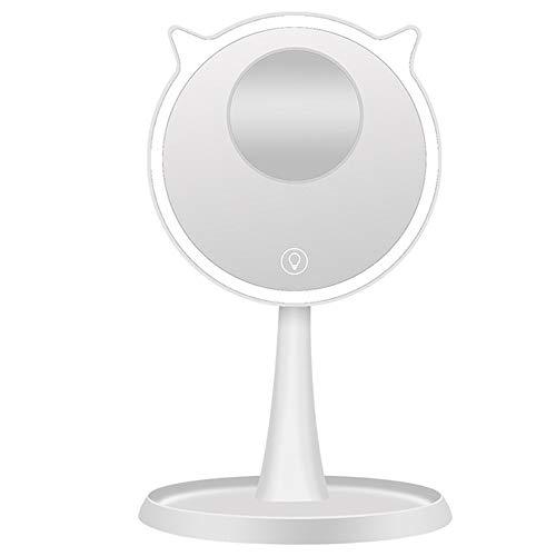Jklj Miroir De Maquillage Domestique Table de Maquillage avec LED Miroir de Maquillage Amovible 10 Fois Loupe 45 ° Rotation Ajustable (Color : White, Size : 15cm)