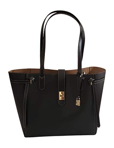 MICHAEL Michael Kors Lg Leather Cassie Tote Purse in Black Gold Tone Hardware