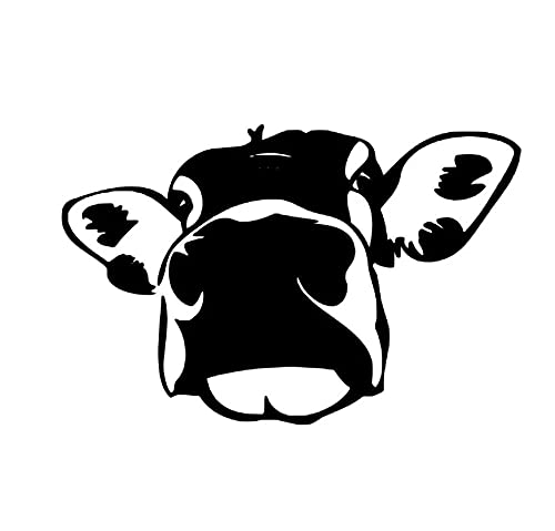 MDGCYDR Pegatinas Coche Personalizadas 13,9 * 9,1 Cm Divertida Vaca Cara Grande Pegatina De Coche Interesante Calcomanía Decorativa Pegatinas De Estilo De Coche Negro/Plateado