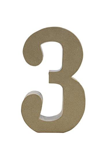 Décopatch AC423O Zahl 3 Fantasie aus Pappmaché, 5 x 18 x 30 cm, zum Verzieren, Kartonbraun