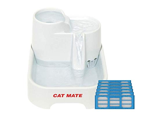 Cat Mate Pet Fountain - 70 Fluid Oz with Multi-Height w/ 6-Pack Genuine Cat Mate 2-Stage Polymer-Carbon Filters