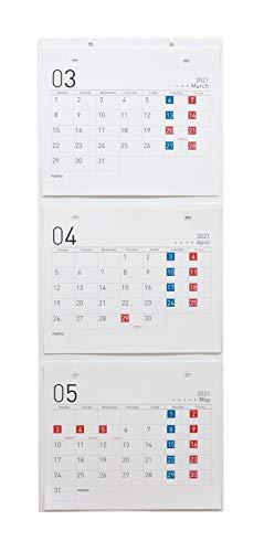 (月曜始まり)3ヵ月カレンダー【2021年4月始まり】組み替え式・壁掛けタイプ(デザインC)