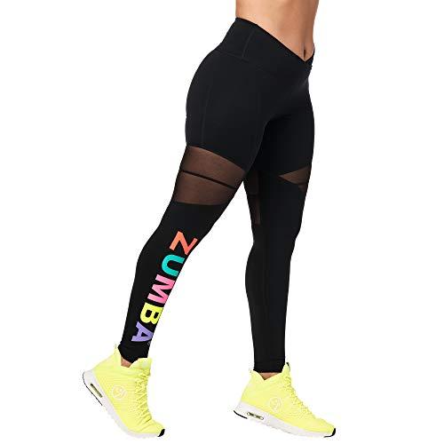 Zumba Dance Trainingshose Damen Sexy Leggings mit Atmungsaktiven Mesh-Einsätzen, Black to Basic, L