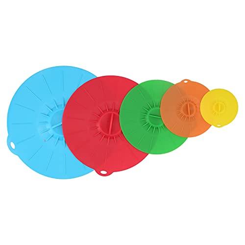 Cubierta de salpicaduras de microondas, tapa de cuenco multifuncional, cubierta de sellado al vacío de silicona de grado alimenticio para macetas caseras (5 piezas/juego)