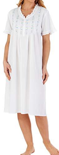 Slenderella Damen Sommer 106 cm lang, 100% leicht Weiß Baumwolle Embroided Floral Design Kurzarm Nachthemd geknöpft Low Neck Größe XL 44/46