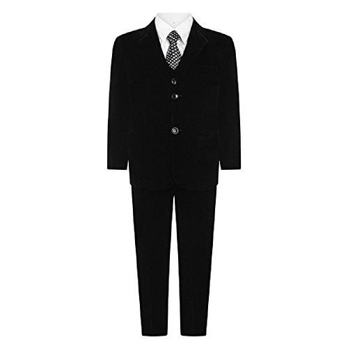 Jongens 5-delige Velvet Suit. Wedding Suit, Page Boy Suit, Italiaans gemaakt pak zwart (9 jaar, zwart)