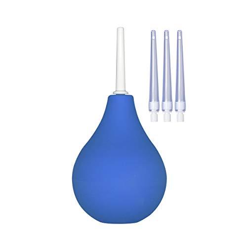 "TopQuaFocus Enema Bulb Enema Kit Anal Douche 8Oz 4"" Tips with 4 Replaceable Nozzles (Blue)"