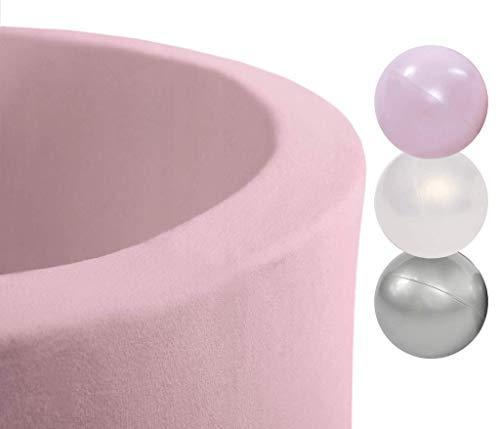 MISIOO Smart Bällebad 90x30cm Rund für Baby Kleinkinder, rosa, mit 150 bunten Bällen