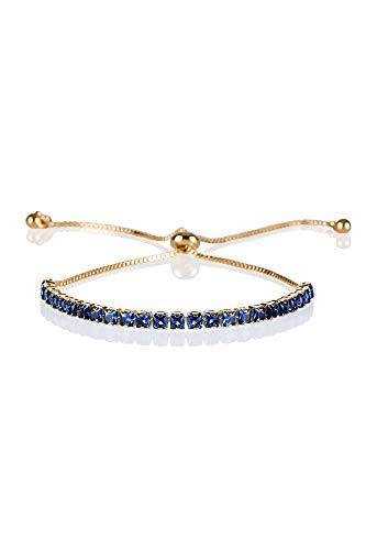 ZAVANA Adjustable Bracelets for Womens. Gold Bracelet for Women with Blue Stones. Delicate Blue Bracelets for Women with Adjustable Bead Fastening.