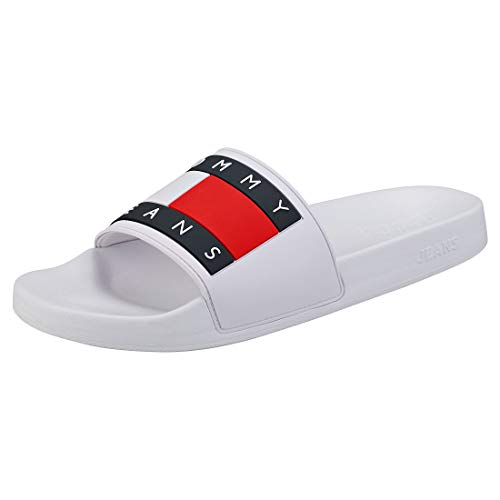 Tommy Jeans Herren TJ Flag Pool Slide Weiß Synthetik 44
