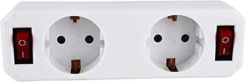 Steckdosenadapter (Schutzkontaktsteckdose mit Schalter, Zwischenstecker mit Kindersicherung) weiß