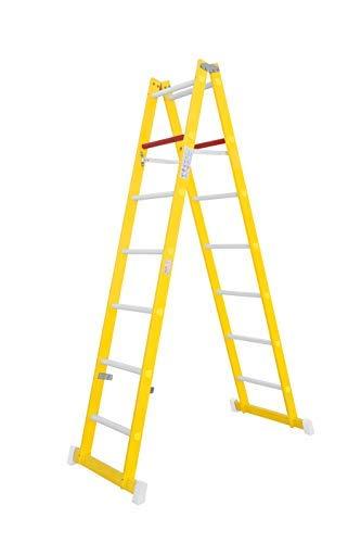Escalera de tijera de doble subida aislante, fabricada en fibra de vidrio. Según norma UNE-EN 131 (7 peldaños)