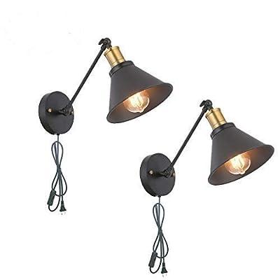 SEEBLEN Industrial Style Plug in Wall Sconce Mini Adjustable Vintage Edison Simplicity Swing Arm Metal Wall Lamp Set of 2