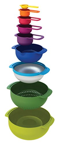 Joseph Joseph Nest 9 Nesting Bowls Set with Mixing Bowls Measuring Cups Sieve Colander, 9-Piece, Multicolored