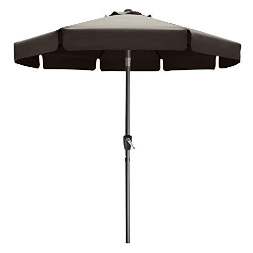 9FT Outdoor Garden Table Umbrella Patio Umbrella Market Umbrella with Push Button Tilt for Pool Deck,Backyard and Garden. 13+Colors,8 Ribs Wave Edge,(Brown)