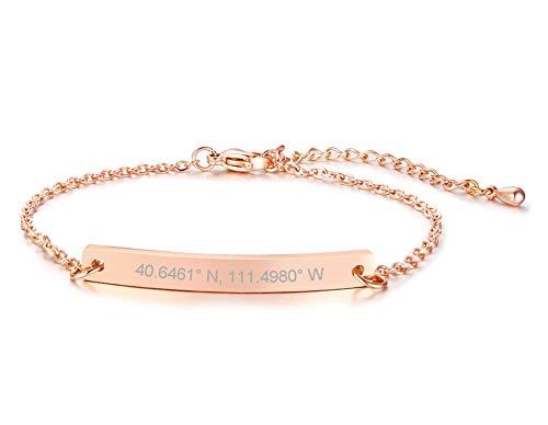 PJ JEWELLERY Personalisierte maßgeschneiderte Rose Gold überzogene Edelstahl dünne Namensschild ID Bar Armbänder Geschenk für Frauen Mädchen Brautjungfer