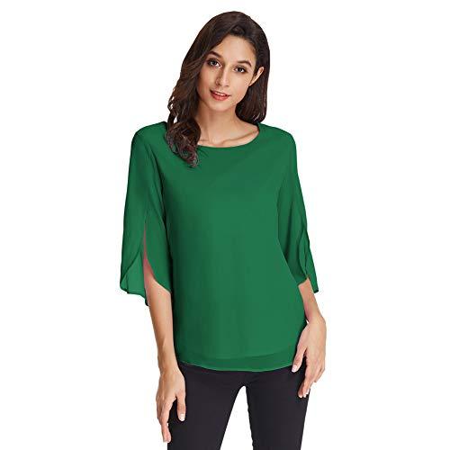 Camisa de Mujer Blusa Gasa Manga 3/4 Blusa de Cuello Redondo de Oficina Casual Elegante Top Verde Oscuro L CLAF15-9