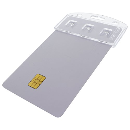 5 Pack - Vertical Half Card Badge Holder for Smart Cards (CHIP Insert) PIV Common Access and Credit Cards - Crystal Clear Hard Polycarbonate Plastic - Heavy Duty Grippers Clamp Tight by Specialist ID