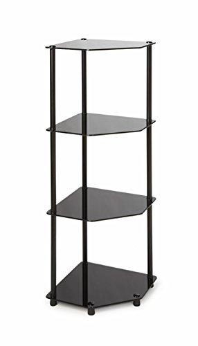 Convenience Concepts Designs2Go Classic Glass 4 Tier Corner Shelf, Black Glass