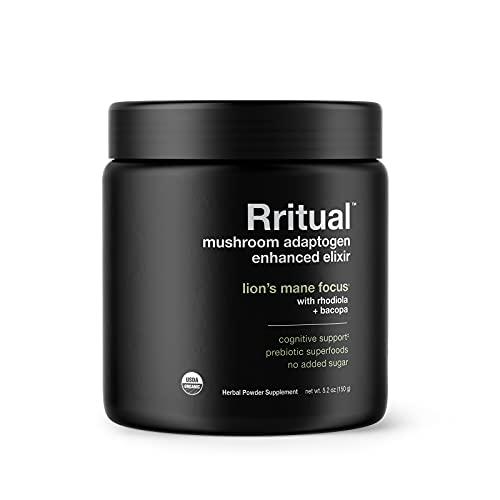 Rritual Superfoods Lion's Mane Focus Herbal Supplement Container, Mushroom Adaptogen Enhanced Elixir, 5.2 Ounce