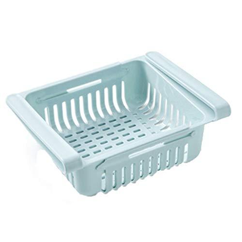 FAMOORE kühlschrank Schubladen, Kühlschrank-Organizer, verstellbare Kühlschrank-Schublade, Kühlschrank Aufbewahrungsbox, Organizer Ausziehbare Kühlschrank Regal Halter (Blue, 1)
