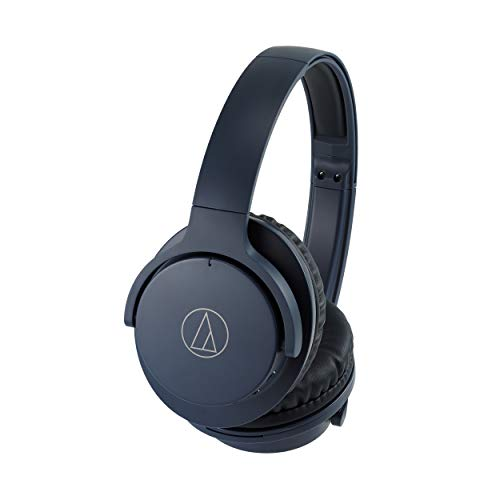 Audio-Technica ATH-ANC500BTNV QuietPoint Wireless Active Noise-Cancelling Headphones, Navy