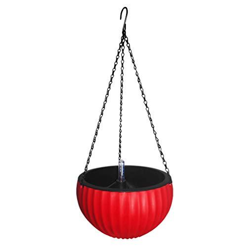 Yarnow Colgante de Pared Cesta de Plantas de Plástico Macetas Suculentas Macetas de Flores Sostenedor para Interior Balcón Exterior Jardín Rojo Tamaño L